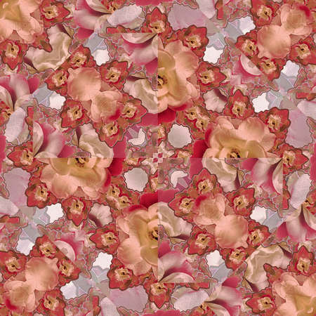 manipulation: Digital photo collage and manipulation technique floral collage motif mosaic pattern design in multicolored warm tones. Stock Photo