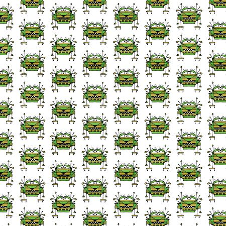 conversational: Funny robot character illustration kids seamless pattern graphic design in green and brown colors against white background