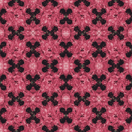 photo collage: Digital photo collage and manipulation technique floral collage motif seamless check pattern design in red and black tones