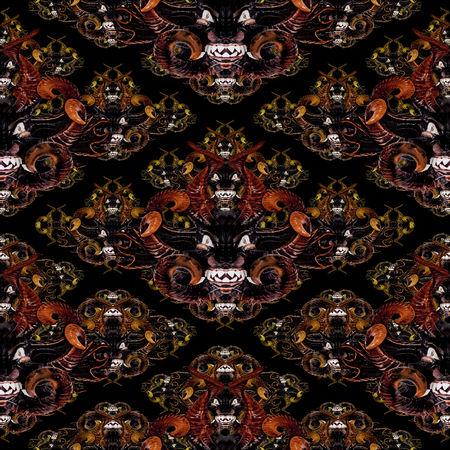 hellish: Diabolic expression tribal masks motif seamless pattern design in mixed warm colors against black background