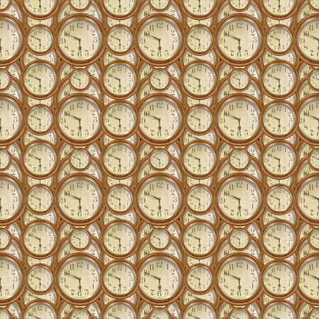 manipulated: Conversational seamless pattern design with old vintage clocks motif in brown pale colors