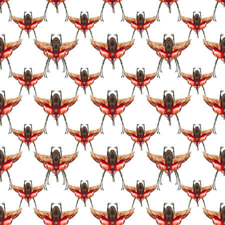 manipulate: Conversational seamless pattern design with bettle motif in warm colors against white background