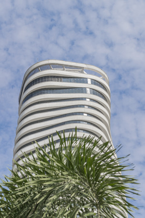 taller: GUAYAQUIL, ECUADOR, OCTOBER - 2015 - Low angle shot of the Point, the most taller office building of Ecuador, it is located in Puerto Santa Ana in the city of Guayaquil Editorial