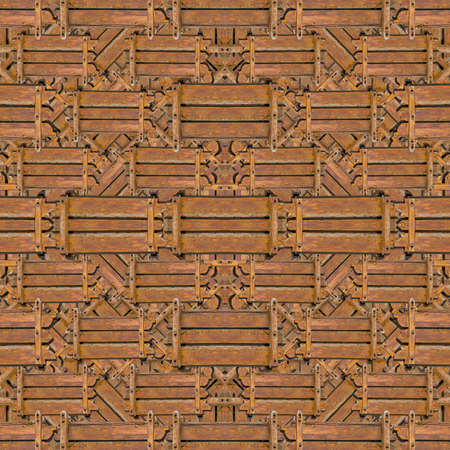 photo collage: Digital photo collage technique wood collage geometric seamless pattern background design in brown colors. Stock Photo