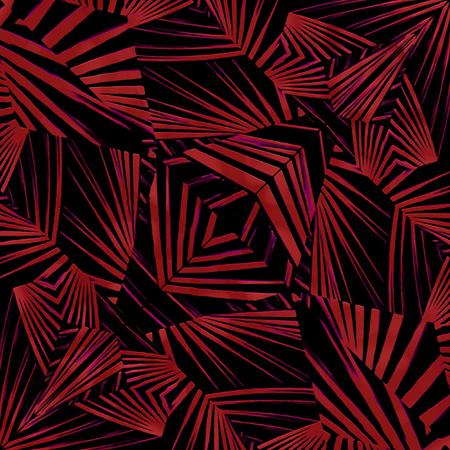 tribu: mezcló el diseño de estilo técnica de los medios modernos abstracto geométrico étnico o tribal del modelo del estilo en colores rojo oscuro y negro Foto de archivo