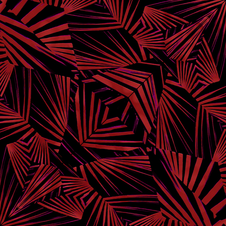 african tribe: Mixed media technique style modern abstract geometric ethnic or tribal style pattern design in dark red and black colors