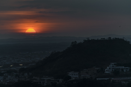 highs: Aerial view sunset scene landscape from Cerro del Carmen in Guayaquil, Ecuador