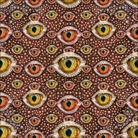 conversational: Conversational seamless pattern design with reptile eyes motif in mixed warm colors