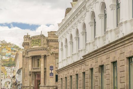 neoclassical: Low angle view of neoclassical style buildings at the historic center of Quito in Ecuador. Editorial