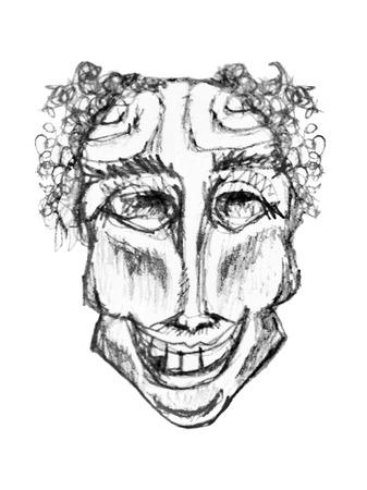payasos caricatura: Ilustración, dibujo de lápiz blanco y negro de la cara del payaso delgado aislado agasint fondo blanco Foto de archivo