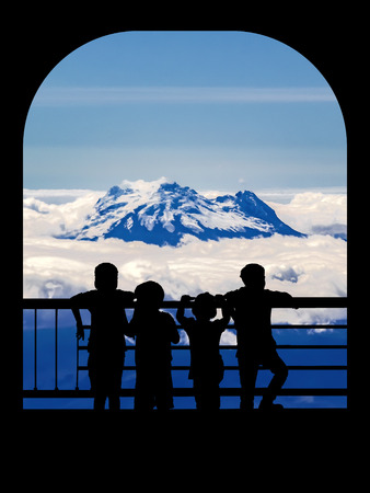 mountain view: Silhouette back view of a group of children watching a big snow mountain landscape