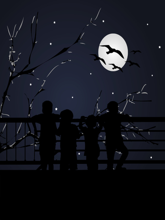 back view: Silhouette back view of a group of children watching the moonlight Stock Photo
