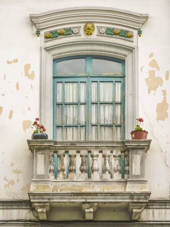 low angle: Low angle view of abandoned vintage window style