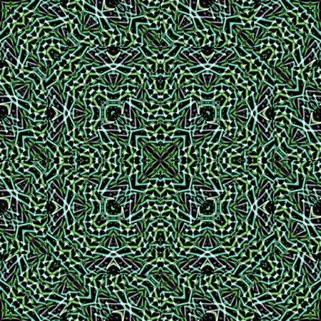 abe: Digital abstract geometric mosaic seamless pattern background design in green and black tones.