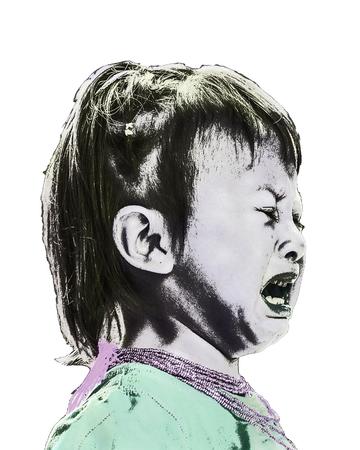 felling: Pop art style illustration closeup photo of girl crying isolated over white background