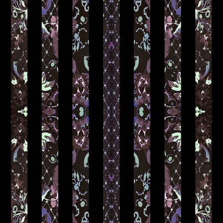 mixed colors: Digital collage technique boho floral ornate vertical stripes pattern design in mixed colors against black Stock Photo