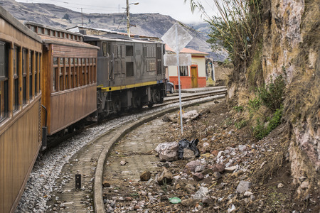 diablo: ALAUSI, ECUADOR, OCTOBER - 2015 - Train ecologic trip which goes to the famous Nariz del Diablo rocky mountain, located in Aluasi town, Ecuador Editorial