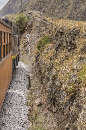 diablo: Train trip tour which goes to the famous Nariz del Diablo rocky mountain, located in Aluasi town, Ecuador Editorial