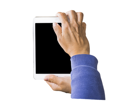 over white: Person taking photos with a tablet isolated over white background Stock Photo