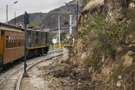 diablo: ALAUSI, ECUADOR, OCTOBER - 2015 - Train ecologic trip which goes to the famous Nariz del Diablo rocky mountain, located in Aluasi town, Ecuador Stock Photo