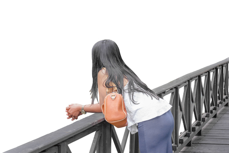 elegantly: Perspective back view of young adult woman elegantly dressed on wooden bridge against white background