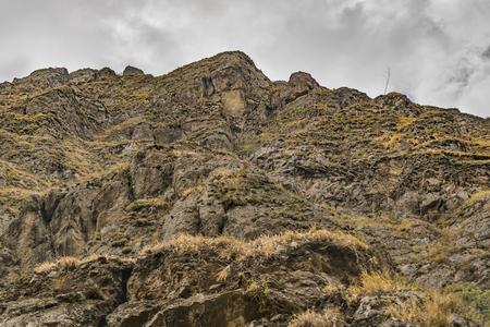 diablo: Low angle view of Nariz del Diablo, a touristic attraction rocky mountain in Alausi, Ecuador Stock Photo
