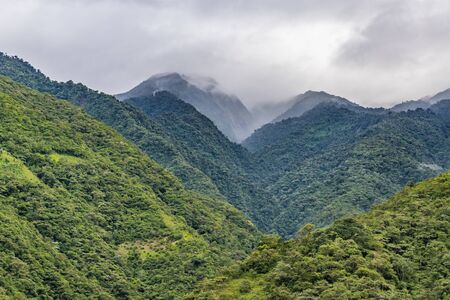 highs: Beautiful landscape scene of big leafy mountains located in Banos, Ecuador.