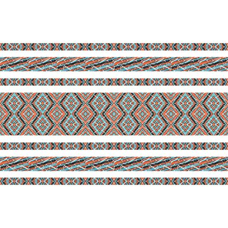 photo manipulation: Digital collage and photo manipulation technique boho style stripes geometric pattern design in mixed colors against white.