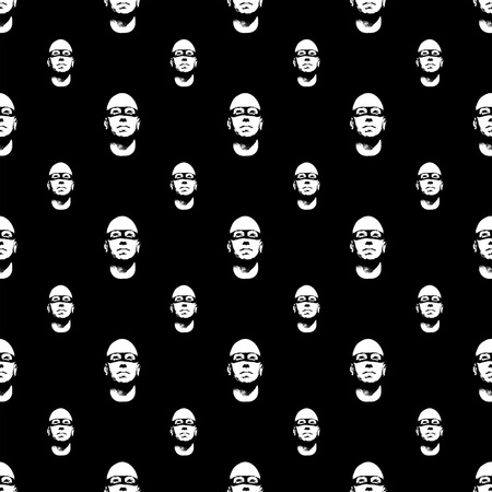 conversational: Seamless pattern design with bald head man with black mask motif on black background. Stock Photo