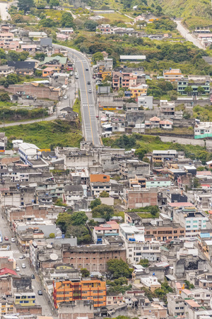 touristic: Aerial view of touristic small town Banos, located in Ecuador, South America. Stock Photo
