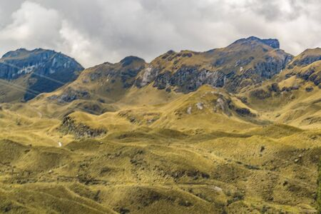 national scenic trail: Mountains landscape scene at Cajas national park in Cuenca, Ecuador, South America. Stock Photo
