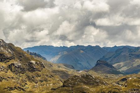 ecuadorian: Mountains landscape scene at Cajas national park in Cuenca, Ecuador, South America. Stock Photo