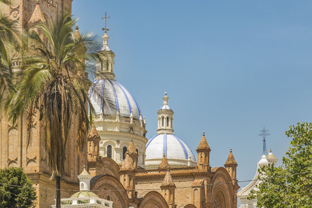 low angles: Inmaculate Conception Cathedral, the most famous church located at the historic center of Cuenca, Ecuador.