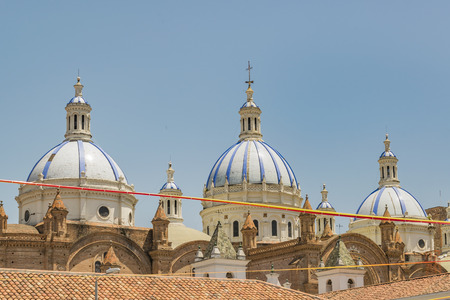 Inmaculate Conception Cathedral, the most famous church located at the historic center of Cuenca, Ecuador.