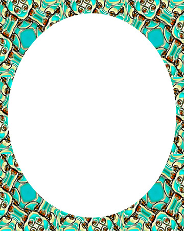 White circle frame background with decorated round design pattern borders