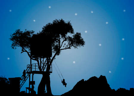 nightscape: Dreamy nightscape illustration scene silhouette with people at tree house with blue sky at background