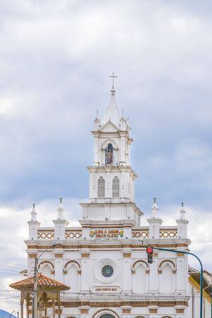 eclecticism: CUENCA, ECUADOR, NOVEMBER - 2015 - Low angle view of old cathedral at Cuenca, Ecuador. Editorial