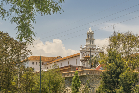 eclectic: Low angle view of elegant old style eclectic buildings at Cuenca, Ecuador. Editorial