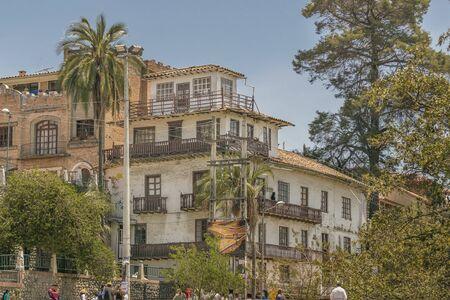 eclecticism: CUENCA, ECUADOR, NOVEMBER - 2015 - Low angle view of elegant old style eclectic buildings at Cuenca, Ecuador.