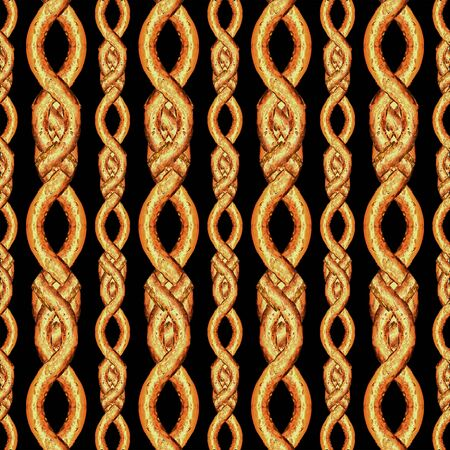 Digital art style stripes interlaced abstract geometric seamless pattern design in orange colors against black background