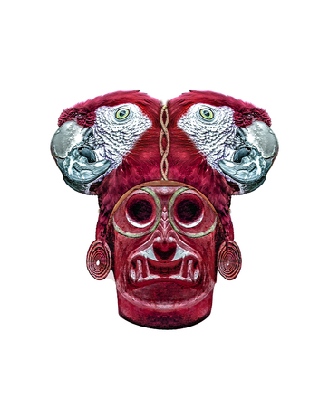 Digital art photo collage technique ethnic dark fantasy monster mask illustration isolated in white background.