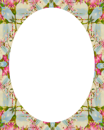 White circle frame background with decorated ornate design borders