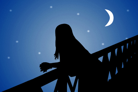 star sky: Perspective back view of woman silhouette watching the moonscape over the bridge Stock Photo