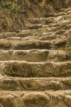 past civilizations: Stone stairs at Ingapirca, a touristic location in which is located an ancient inca temple located in Azuay province, Ecuador Stock Photo