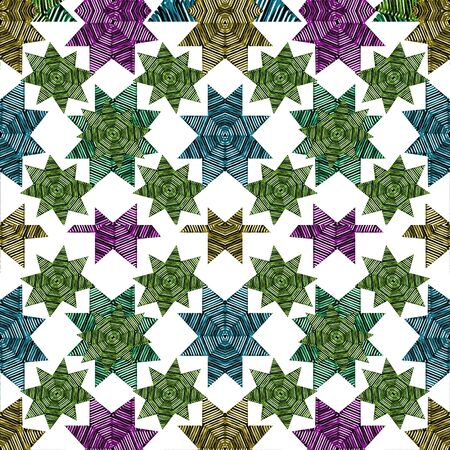 Digital abstract geometric stars motid seamless pattern background design in mixed colors.