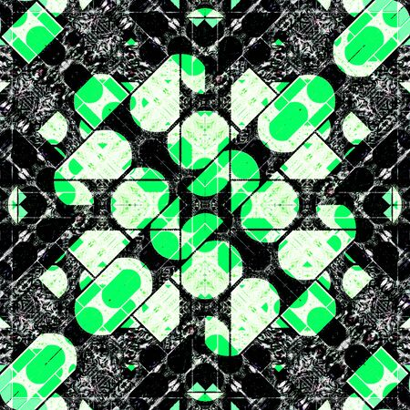 urban style: Digital abstract geometric modern urban style pattern background design in green and black and white colors