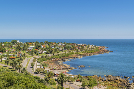 Aerial view landscape scene of Punta Colorada, a watering place located in Maldonado, Uruguay