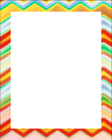 colorful frame: White frame background with decorated chevron style colored design borders. Stock Photo