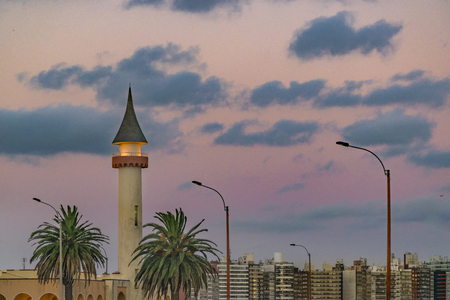 eclectic: Low angle shot of eclectic style architecture skyline cityscape of Montevideo, Uruguay