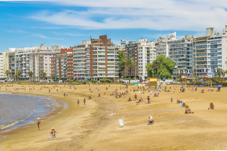 Cityscape urban scene at summer at pocitos beach in Montevideo Uruguay
